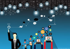 Vector Geschäftsmannbrainstorming auf Technologie für Erfolg mit Mobile, Tablette, Notebooks und flachem Design der verschiedenen lizenzfreie abbildung