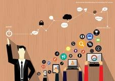 Vector Geschäftsmannbrainstorming auf Technologie für flaches Design des Erfolgs Stockfoto