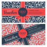 Vector Geschenkgutschein mit Flourishverzierungshintergrund und -band lizenzfreie abbildung