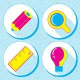 Vector Geschäftskonzept, infographic Gestaltungselemente im flachen Retrostil, Satz Geschäftsikonen mit einem Bleistift, Lupe, ru Lizenzfreie Stockfotos