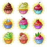 Vector geschmackvollen Flecken des kleinen Kuchens der Pop-Art oder Aufklebersatz Stockfotografie