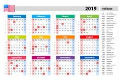 Vector gesetzliche Feiertage für den USA-Kalender 2019 Bunter Satz Wochenanfänge am Sonntag Grundraster Stockbilder