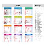 Vector gesetzliche Feiertage für den USA-Kalender 2019 Bunter Satz Wochenanfänge am Sonntag Grundraster Stockfotografie