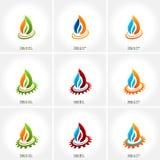 Vector gesetzte Ikone des Geschäftsemblemfeuer-Wassers Stockfotografie