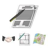 Vector gesetzte Sammlungsikonen des Grundstücksmaklers in der Karikaturart Symbol Lizenzfreie Stockfotos