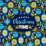Vector Gestaltungselement mit Symbolen des neuen Jahres und des Weihnachten Stockbild