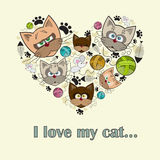 Vector gestileerd hart met katten voor gebruik in ontwerp Stock Afbeelding