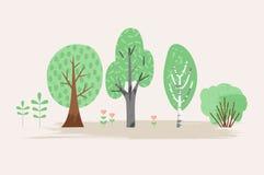 Vector gestileerde illustratie van installatie Bomen, struik, gras, bloemen stock illustratie