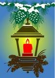 Vector gestileerde lamp, kaars en kegels vector illustratie