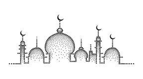 Vector gestippeld die silhouet van moskee in zwarte op witte achtergrond wordt geïsoleerd Horizontale samenstelling met moskee in royalty-vrije illustratie