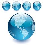 Vector Gestippelde Bollen van de Wereld Stock Foto