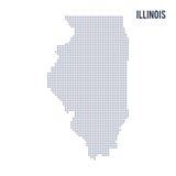 Vector gestippelde die kaartstaat van Illinois op witte achtergrond wordt geïsoleerd Royalty-vrije Stock Fotografie