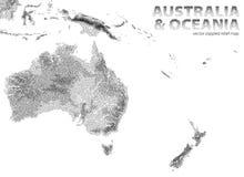Vector gestippelde hulpkaart van Australië en Oceanië stock illustratie