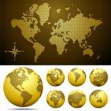 Vector gestippelde Kaart en Bol van de Wereld - Goud Stock Fotografie