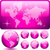 Vector gestippelde Kaart en Bol van de Wereld - ROZE Royalty-vrije Stock Afbeelding