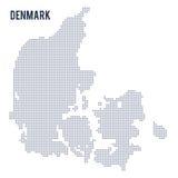 Vector gestippelde kaart van Denemarken dat op witte achtergrond wordt geïsoleerd Stock Foto