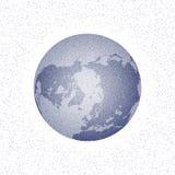 Vector gestippelde wereld gestileerde bol kleine pinguïnen op het ijs bij nacht Stock Foto's