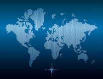 Vector gestippelde wereldkaart Stock Afbeeldingen