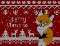 Vector gestrickte Weihnachtskarte mit Fuchsrotwild und -baum Roter Hintergrund, Weihnachtstapete 2016 Lizenzfreie Stockfotografie