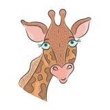 Vector getrokken girafhand Royalty-vrije Stock Afbeelding