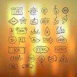 Vector getrokken hand ampersands en wachtwoorden Stock Afbeelding