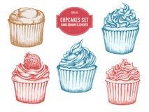 Vector getrokken inzameling van hand cupcakes vector illustratie