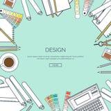 Vector gevoerde illustratie Vlakke achtergrond De tekening van het Webontwerp het schilderen Project planning palette administrat royalty-vrije illustratie