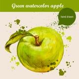 Vector gezeichneten grünen Apfel des Aquarells Hand mit Blatt- und Aquarelltropfen Stockfotografie