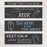 Vector gezeichneten lustigen Satz des Bieres der Weinlese Hand von t Stockfotografie