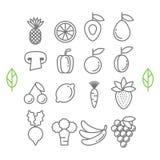 Vector gezonde ecofruit en groentenpictogrammen Stock Fotografie