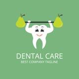 Vector gezonde tand die een barbell-peer houden Vlak Ontwerp Royalty-vrije Stock Fotografie