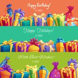 Vector gift banners for Happy Birthday holidays. Happy Birthday or holidays gift banners. Vector festive gifts boxes with ribbon bow and surprise bags with stars Stock Photos