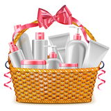 Vector Gift Basket with Cosmetics Stock Photos