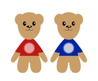 Vector gift bears for fans or young sporting players. Template for sport brand. Isolated on white background Stock Image