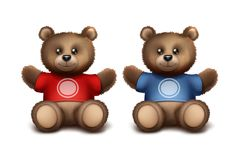 Vector gift bears. For fans or young sporting players. Template for sport brand. Isolated on white background Royalty Free Stock Images