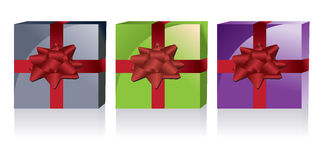 Vector gift box. Three different colors Vector gift box Stock Image