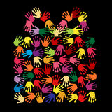 Hand prints. A vector illustration with colorful hand prints Stock Photo