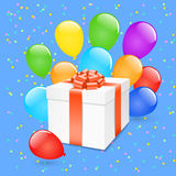 Vector gift box with balloons.. Royalty Free Stock Photography