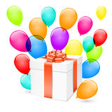Vector gift box with balloons. Royalty Free Stock Images