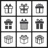 Vector Gift box black icons Royalty Free Stock Photography