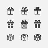 Vector Gift box black icons Stock Images