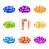 Vector gift box with bow ribbon. Royalty Free Stock Photo