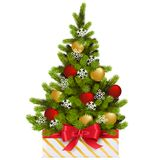Vector Gift Box with Christmas Tree. Isolated on white background Royalty Free Stock Photography