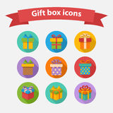 Vector Gift box colorful icons set Stock Photos