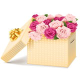 Vector Gift Box with Flowers Royalty Free Stock Images