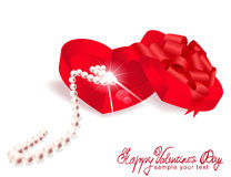 Vector gift box-heart with pearl Royalty Free Stock Photo