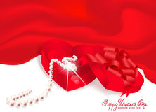Vector gift box-heart with pearl red background Stock Images