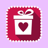 Vector Gift Box with Heart Shape Icon Royalty Free Stock Images