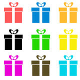 Vector gift box icon. Multicolors gift box on white background Royalty Free Stock Images
