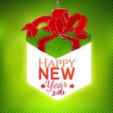 Vector gift box illustration with NY greetings Stock Photo